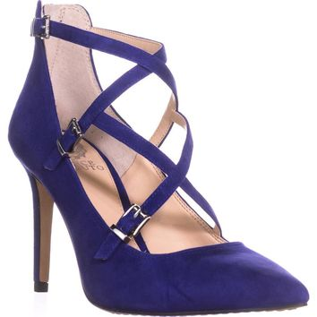 Vince Camuto Neddy Multi Strap Pointed Toe Dress Heels, Iris, 8.5 US / 38.5 EU
