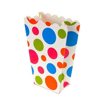 Polka Dots Popcorn Favor Boxes, 5-Inch, 4-Count