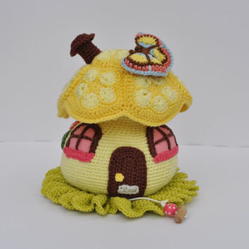 Yellow Crocheted Mushroom Music box