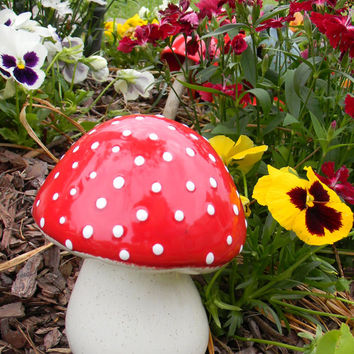 RED AMANITA fly MUSHROOM Statue .Fairy Garden Toadstool  Gnomes prefer red  .  Poison only if ...eaten Ready to ship. ceramic pottery