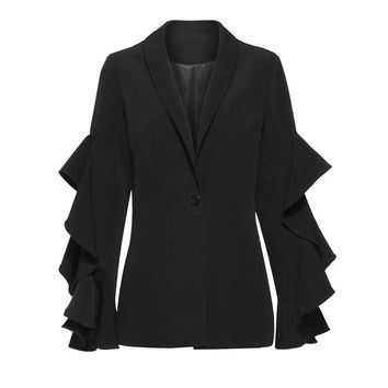 Gothic Fashion Suit Women Fall Black Patchwork Button Office Wild Slim Goth Coats