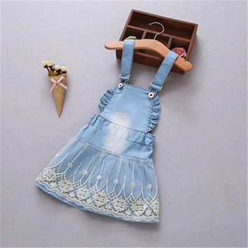 Summer Baby overall lace Dress Clothes Children Sleeveless Kids embroidery cotton causal denim Backless Dresses
