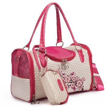Upscale Pet Carrier Bag Portable PVC Shoulder Handbag For Small Cats Or Dogs