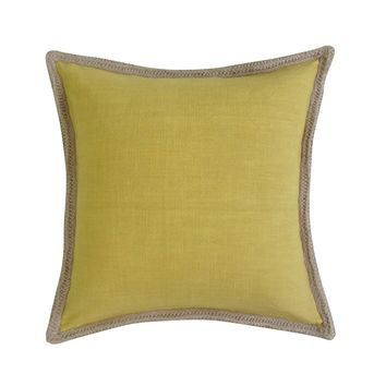 Jute Handcrafted Border, Square Accent Pillow Cover - MUSTARD