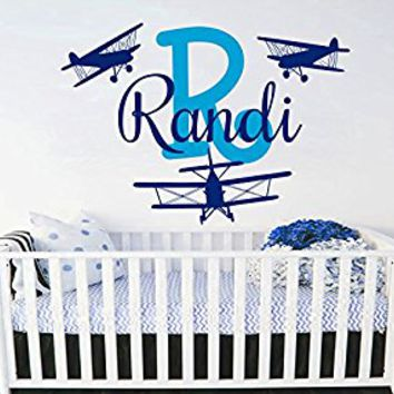 Name Wall Decal Baby Name Decal Airplane Name Wall Decal Boy Name Wall Decal Airplane Nursery Wall Decal Monogram Wall Decal S117