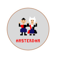 Amsterdam pixel people embroidery pattern, Souvenir to decorate your home or gift for him and her. Pattern in English, Spanish & Dutch