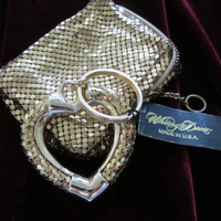 Whiting and Davis Yellow Gold Mesh Heart Key Chain and Coin Purse