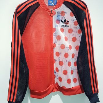 adidas Originals Mesh Wave point Splicing Zipper Cardigan Sweatshirt Jacket Coat