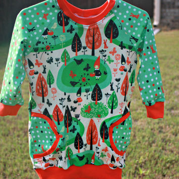 Raglan faux pocket dress 12-18 months, forest girl tunic with long sleeves, green and dot with bunnies