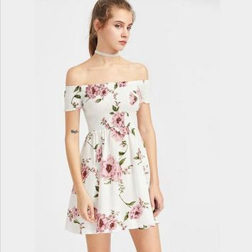 Fashion Off Shoulder Short Sleeve Flower Print High Waist Mini Dress