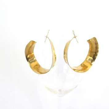 Gold inside outside hoops, large brass hammered hoop earrings,