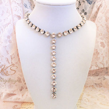 NEW, Blush, Swarovski Crystal Drop Necklace, Bridal, Prom, Formal, 8mm,  Popular, Modern, Trending, DKSjewelrydesigns, FREE SHIPPING