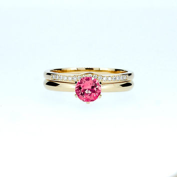 Pink tourmaline solitaire engagement ring set, yellow gold ring, diamond wedding band, pink engagement, curved ring, custom, unique, simple