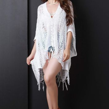 Loose Knit Lace Up Fringe Poncho Top