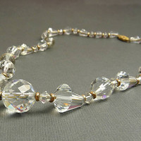 Art Deco Faceted Crystal Bead Necklace Gold Bead Spacers