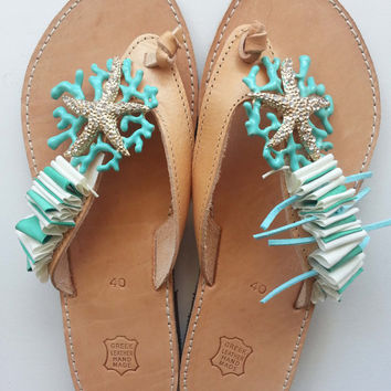Handmade Leather Sandals with Starfish
