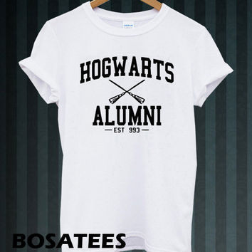 hogwarts alumni shirt harry potter shirts tshirt t-shirt printed black and white unisex size (BS-72)