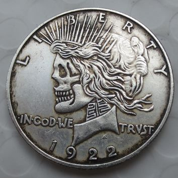 US Head-To-Head Two Face 1922 Peace  Dollar skull zombie skeleton hand carved Copy Coins