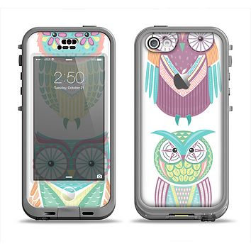 The Crazy Cartoon Owls Apple iPhone 5c LifeProof Nuud Case Skin Set