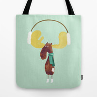 This moose is ready for winter Tote Bag by Budi Satria Kwan