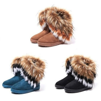 Women's Warm Faux Fur Snow Boots US6-8 = 1931763076