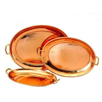 Old Dutch 17 in. x 13 in. Decor Copper Oval Trays (Set of 3)-250 - The Home Depot