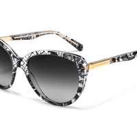 Dolce & Gabbana Women Sunglasses Black-Lace Collection - Cat Eye Frame in Crystal and Black Lace with Graduated Smokey Lenses