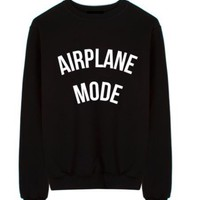 AIRPLANE MODE Letters Print Women Sweatshirt Jumper Casual Hoodies For Lady Funny Black Street Tumblr TZ2-118