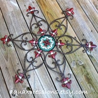 Metal Wall Fixture /Red, Green, White /Fleur de Lis /Patio Decor /Painted Bright /Christmas Decor/Outdoor Up Cycled Iron Art