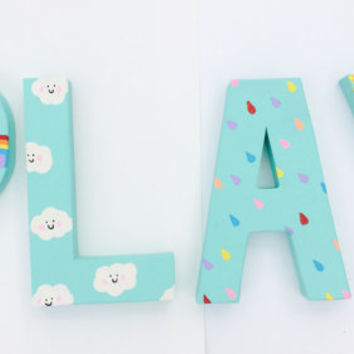 Kids Playroom Letters, Rainbow Decor , Playroom Sign, Nursery Decor, Kids  Bedroom Decor