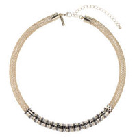 Mesh and Ring Necklace - Gold