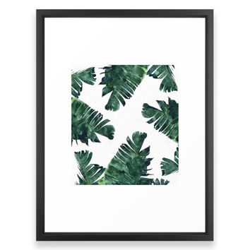 Society6 Banana Leaf Watercolo Framed Print