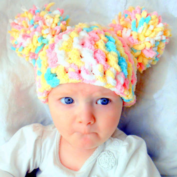 Pom Pom Hat Baby Girl Hat Chunky Pink White Blue Yellow by YumBaby
