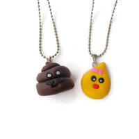 Best Friends Necklace, Mrs. Pee and Mr. Poo Necklace, Kawaii Necklace Set, Friendship Necklaces, Friendship gift, Under 25, Best friends