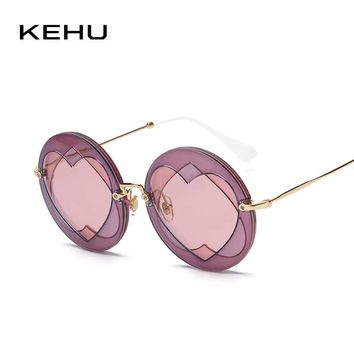 KEHU Fashion Round Sunglasses Women Brand design Classic Round Frame Women Sunglasses UV400 Heart Sunglasses Stylish K9159