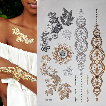 Free shipping body art gold glittering jewelry tattoos waterproof temporary tattoo tattoo women fake flash metal arm