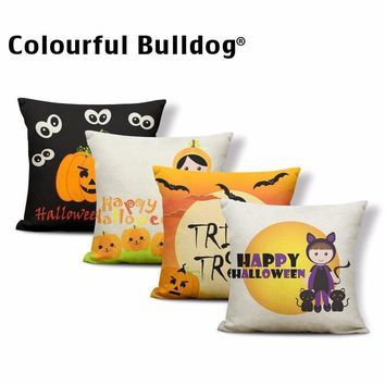 Black Bat Cat Cushion Cases Moon Pumpkin Candy Pillow Covers Letter Trick or Treat Witch Broom Ghost Halloween Kid Gift 43*43 cm