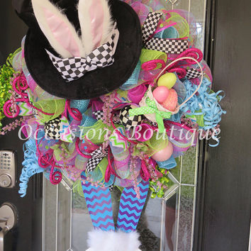 Easter Wreath, Easter Decoration, Easter Bunny, Large Wreath, Wreath for Door, Door Hanger, Front Door Wreath, Whimsical Wreaths