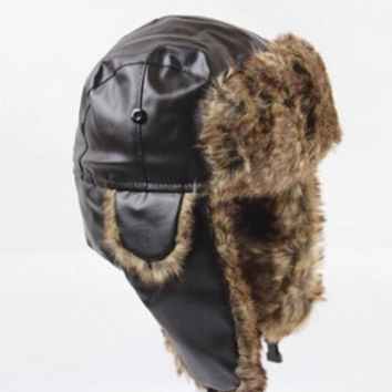 Classic Leather and Fur Bomber Hat