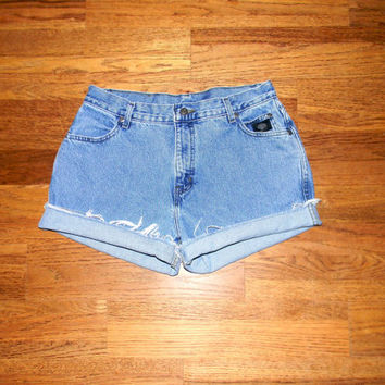 Vintage Denim Cut Offs - 90s High Waisted Light Wash Stone Washed HARLEY DAVIDSON Jean Shorts, Cut Off/Frayed/High Waist Misses Size 14