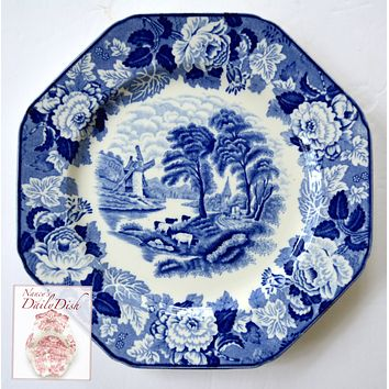 Blue Transferware Octagon Plate Grazing Cattle Pastoral English Windmill / Peonies Border