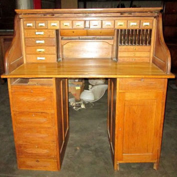 1800s S roll top rolltop DESK Oak vintage original & telelphone book Michigan standing TALL RARE