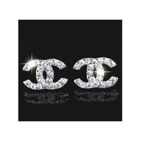 Beautiful Silver CC Chanel Inspired Crystal Stud Earrings