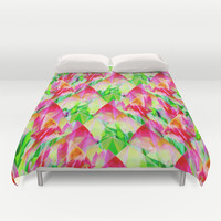 Tulip Fields #119 Duvet Cover by Gréta Thórsdóttir #floral #tulips #pattern #abstract #Genus #Tulipa #bedroom #pink