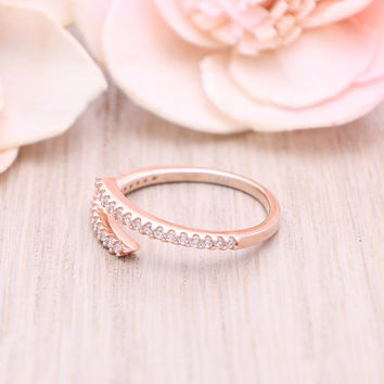 925 sterling silver rose gold plated cubic zirconia Bypass ring / Wrap around ring