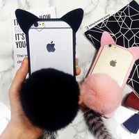 winter warm furry cat tail case cover for iPhone 7 7Plus & iPhone 6s 6 Plus gift Box