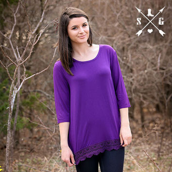 Purple Solid 3/4 Sleeve Shirt with Crochet Lace