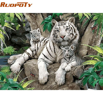 RUOPOTY White Tigers Animals Diy Painting By Numbers Wall Art Picture Home Decor Handpainted Oil Painting For Room Decoration