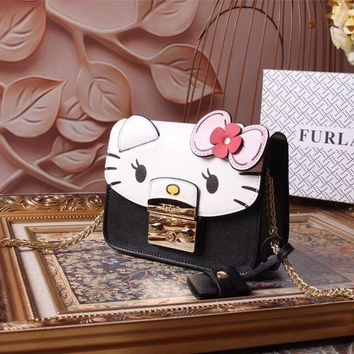 Ready Stock Furla Women's Leather Hello Kitty Inclined Chain Shoulder Bag #554