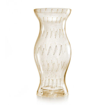 Tiffany & Co. - Hurricane bullicante decanter in handblown Venetian glass with 24k gold leaf.